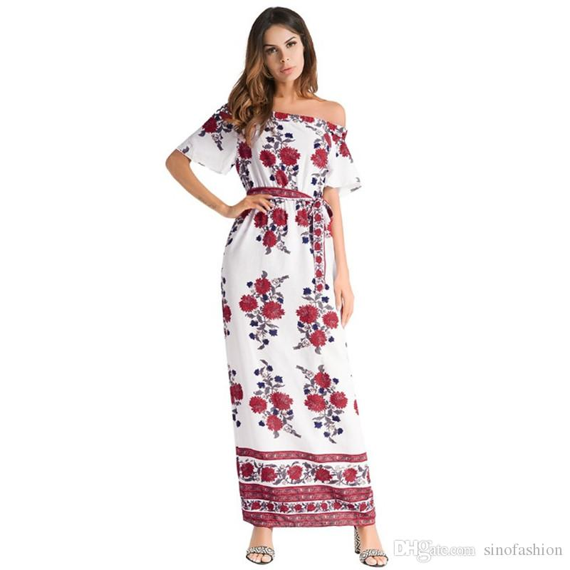 b36efb0d7 Women Print Summer Maxi Dresses Vintage Casual Beach Long Dress Slash Neck Short  Sleeve Backless Floral Printing Vestidos Party Long Dresses For Women Tight  ...