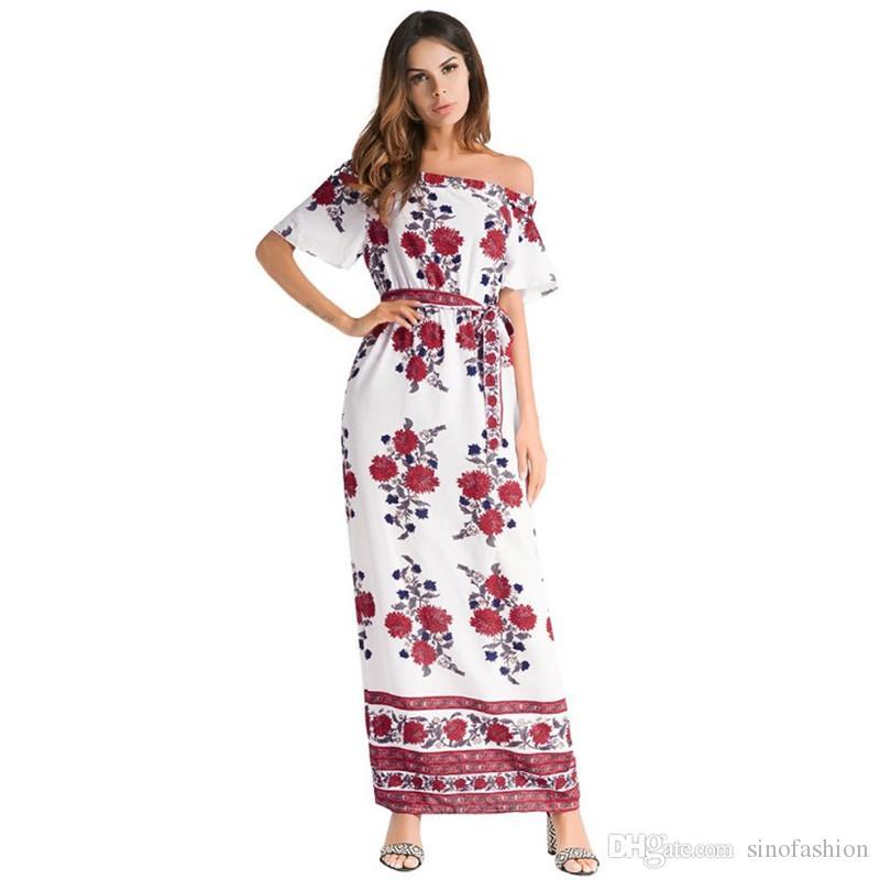 60e421d4dc Women Print Summer Maxi Dresses Vintage Casual Beach Long Dress Slash Neck  Short Sleeve Backless Floral Printing Vestidos Party Long Dresses For Women  Tight ...