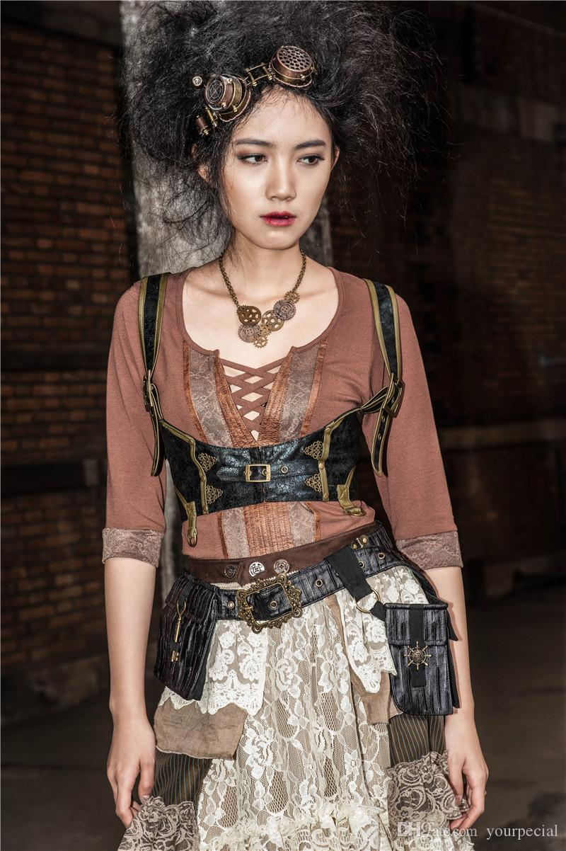 c9daff80a0e 2019 RQ BL SP085 Brown Lady Pirate Steampunk Simil Skin Underbust Corset  Chest Harness From Yourpecial