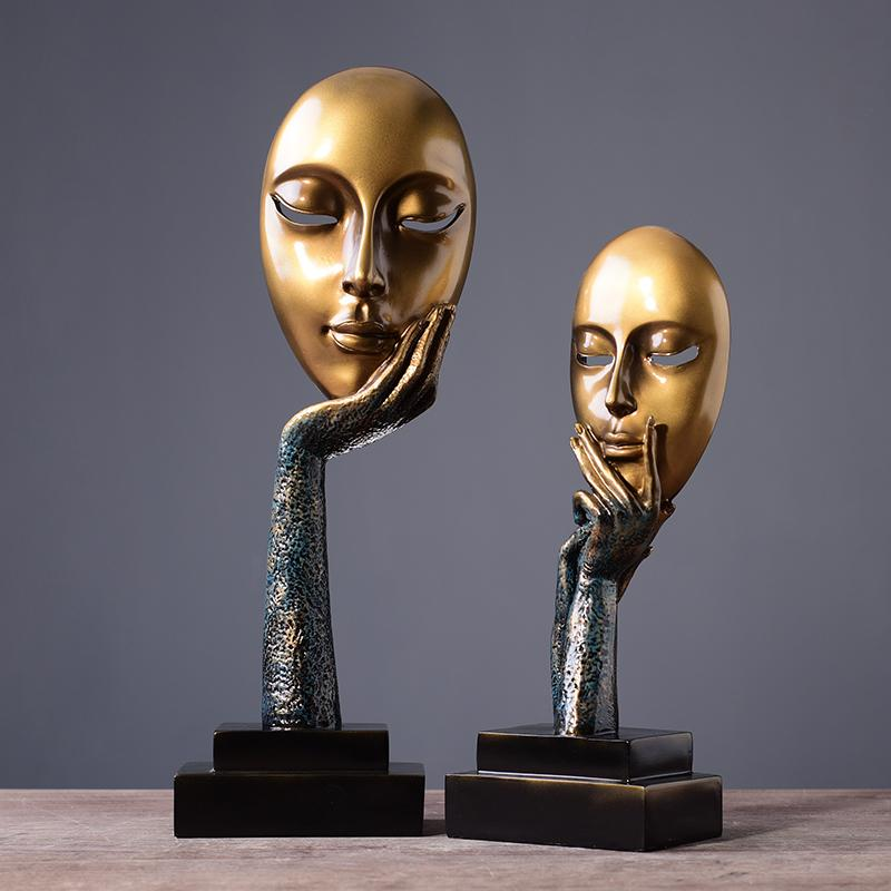 2019 Creative Face Ornaments Thinkers Resin Crafts Girl Statues