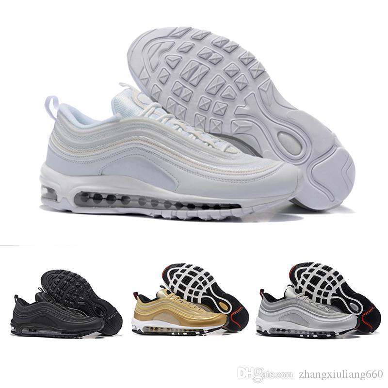 promo code 394eb 9dd2c Acheter Nike Air Max 97 Airmax Nouveau 97 Chaussures Décontractées Og  Ttriple Blanc Noir Vert Argent Bullet Métallisé Or Japon Gris Chaussures  Homme Femme ...