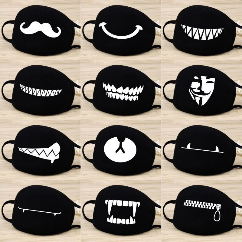 Cartoon Mask Fashion Anti Fog/Dust/Wind Cotton Mask Warm Beard Teeth Bear Print Mouth Mask Party Favor