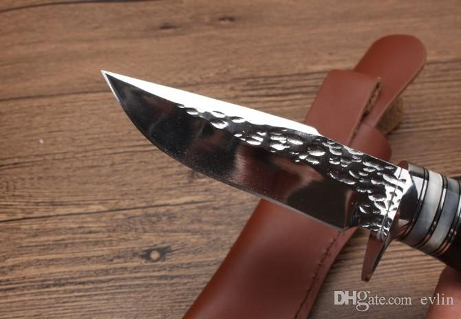 Nuevo cuchillo recto de supervivencia Cuchillo de caza 7Cr17 Hoja de satén Mango de ébano Cuchillos de hoja fija con funda de cuero