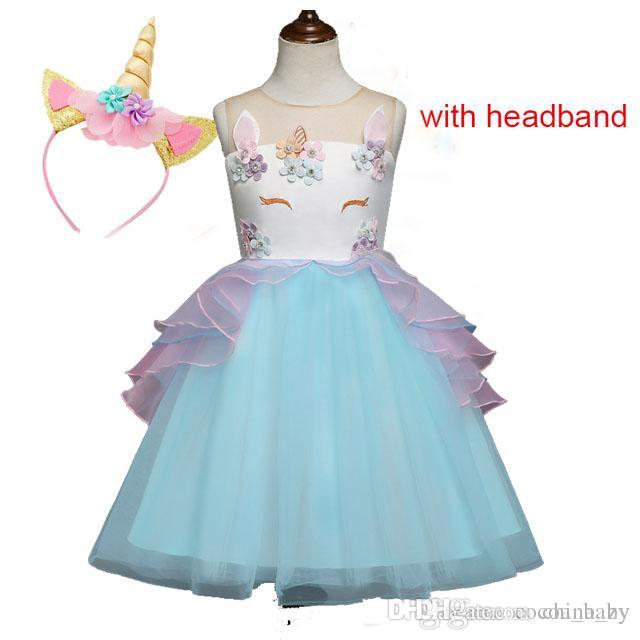 c7646273293eb Fancy Kids Unicorn Dress for Girls Embroidery Flower Ball Gown Baby Girl  Princess Dresses for Party Costumes vestido unicornio