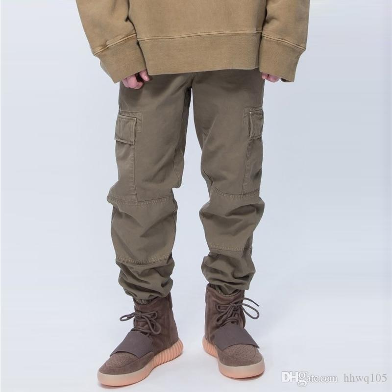 e73bb58f Kanye West Cargo Pants Men's Elastic Waist Pocket Jogger Pants New Fashion  Navy Army Green Casual Pant Outdoor Military Trousers MQH1106