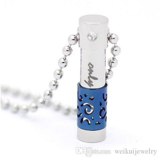 El collar perfumado cilíndrico personalizado de la urna del acero inoxidable de la personalidad puede abrir el colgante de la inscripción de la botella de perfume