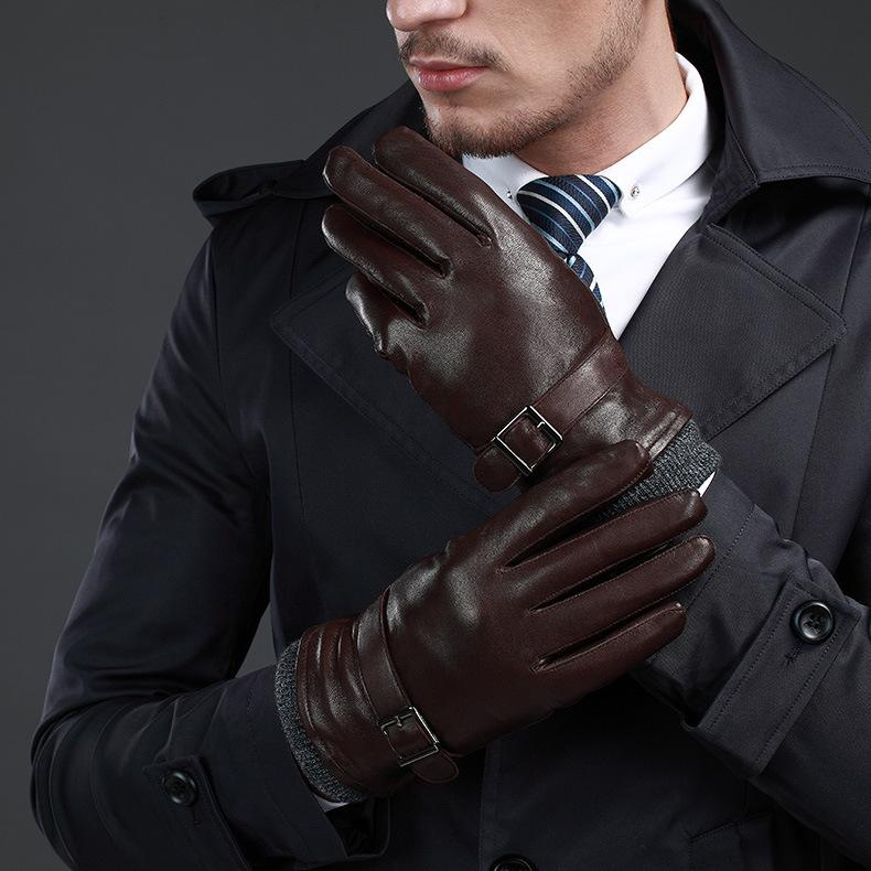 NEW Leather winter guantes warm sheepskin Gloves men Leather gloves simple prevent cold Gloves for men KWA559 D18110705