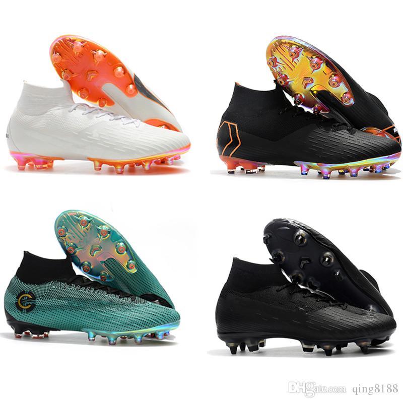 Botines De Fútbol Para Hombre Originales Mercurial Superfly VI 360 Elite SG  AC Zapatos De Fútbol De Picos De Acero Altos Tobillos Cristiano Ronaldo De  ... 6881ebdab77d4