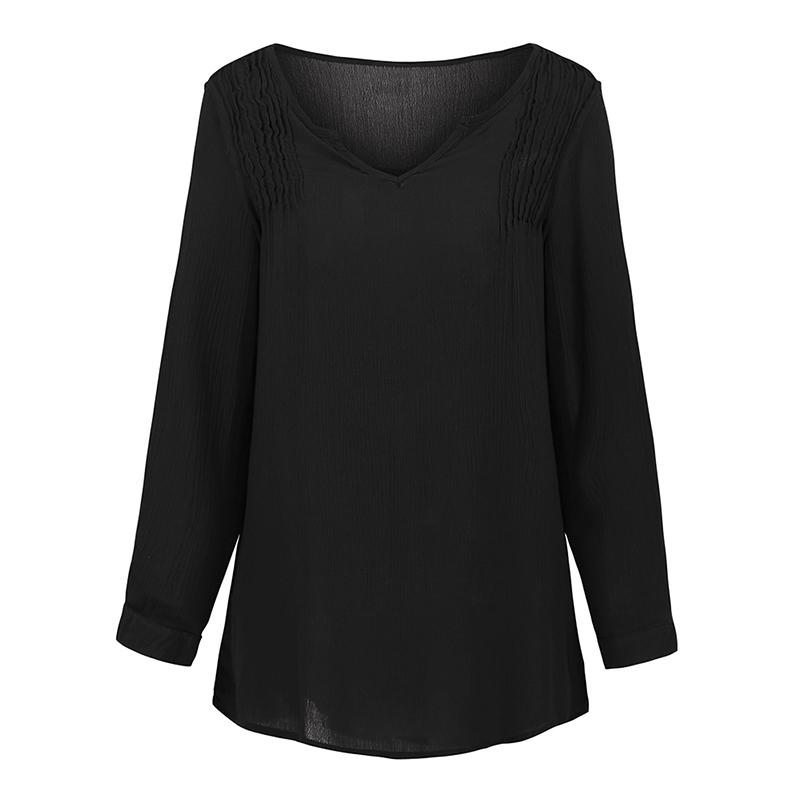 80202a5b6bd2f5 2019 5XL Plus Size Womens Tops And Blouses Autumn Casual Women Loose Blouse  V Neck Long Sleeve Ruched Detail Plus Size Shirt Tops From Fafachai07, ...
