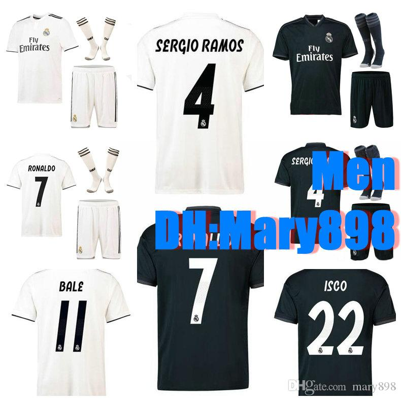 2019 Best Quality 18 19 Real Madrid Home Soccer Jersey Kits 2018 2019  RONALDO LUCAS V MORATA JAMES BALE RAMOS MODRIC Away Football Shirt Sets  From Mary898 d7209211f