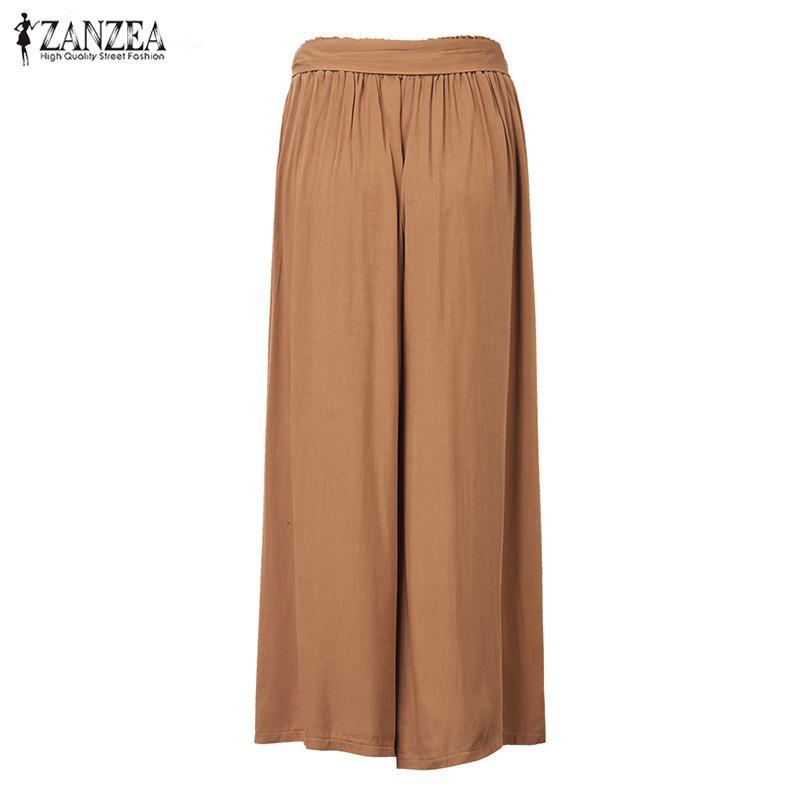 2018 ZANZEA Women Wide Leg Pants Vintage Casual 느슨한 탄성 허리 바지면 대형 Solid 긴 Pants Plus Size L-5XL