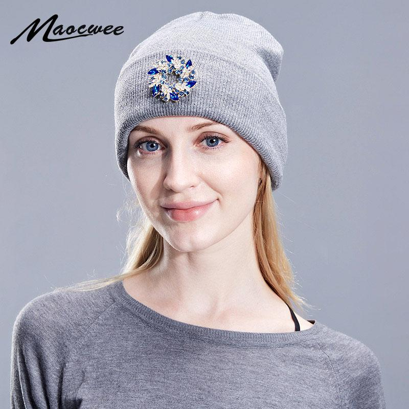 Women Autumn And Winter Hat Angora Knitted Flower Rhinestone Skullies Beanie  Cap Classic Color Diamond Decoration Hats For Girls Beanie Hat Sun Hats  From ... aa6ddff302a