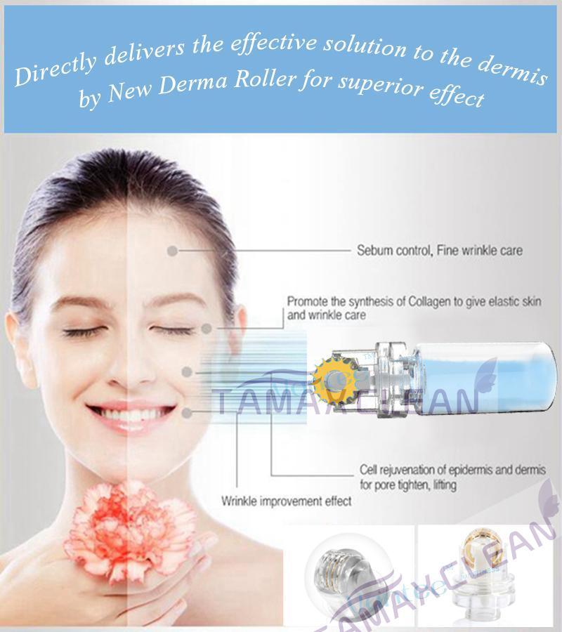 TAMAX DR009 Nouveau Titanium MicroSededle automatique Hydra Derma Roller 64 Conseils en or Micro Aiguilles avec tube de gel