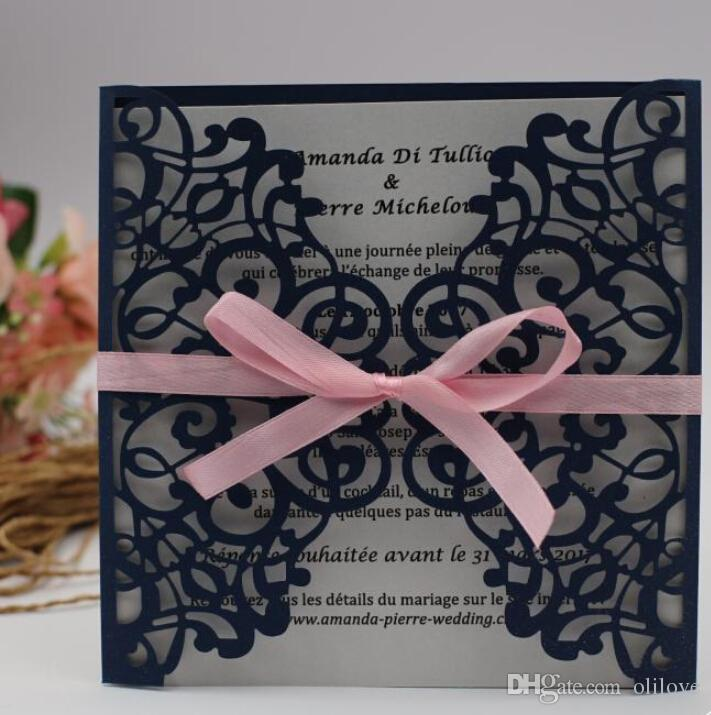 2018 european classic navy blue blush pink laser cut wedding invites