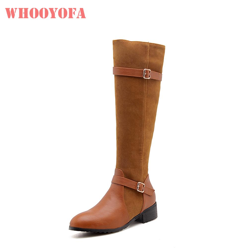 867354ecd54 Brand New Winter Beauty Yellow Black Women Knee High Snow Boots Chunky  Heels Lady Dress Shoes WK30 Plus Big Small Size 10 32 43 Boots For Women  Black Boots ...