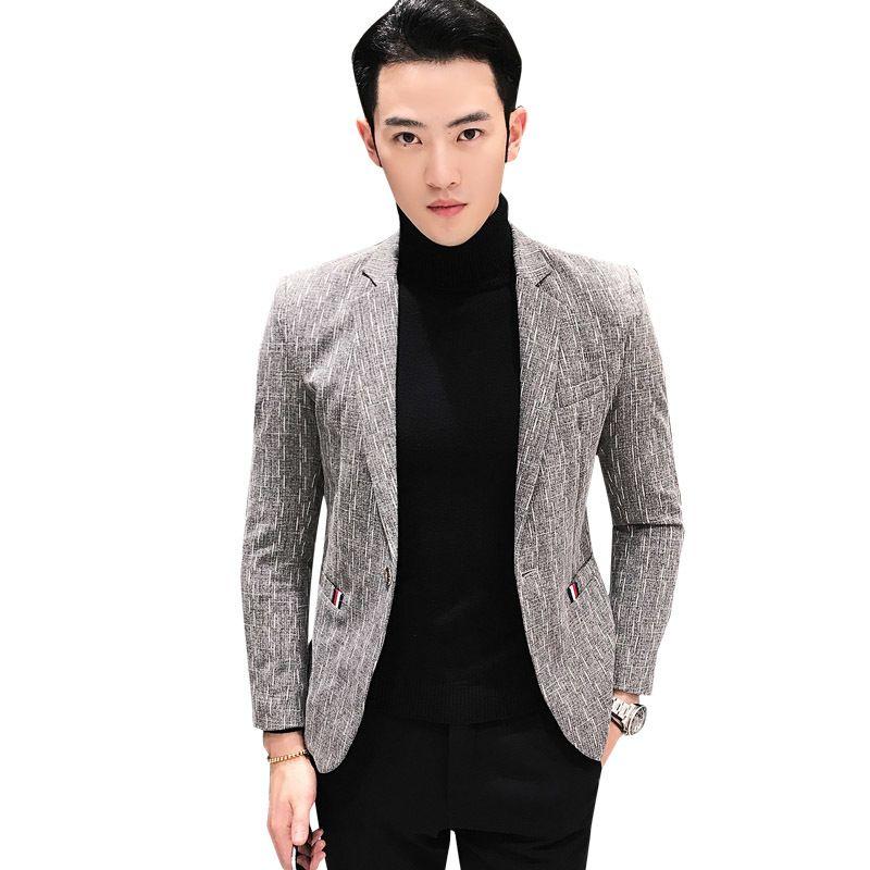 d8a9ad961c 2019 Blazer Hombre 2018 New Brand Slim Fit Casual Blazer Men Grey Blue  Black 3XL Men Jacket Masculino Stylish Blazers For From Vikey10