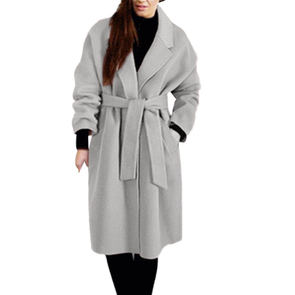 cheaper a5915 c0f1c Frauen Mantel Frau Mäntel Winter 2018 Frauen Winter Revers Wollmantel  Trench Jacket Lose Spitze Mantel Outwear Lange Kleidung