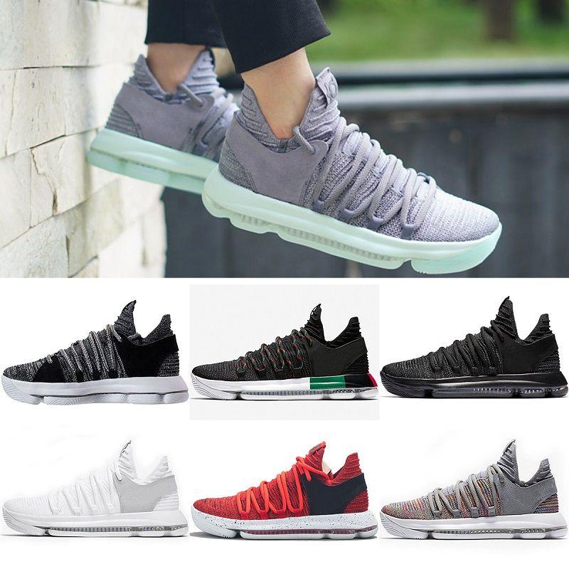 e6414a488 Compre 2018 Zapatos De Baloncesto Más Nuevos Para Hombre KD 10 Sport  Sneakers Triple Negro Blanco BHM Oreo Aniversario Rojo Multi Color Elite  Durant Big US ...