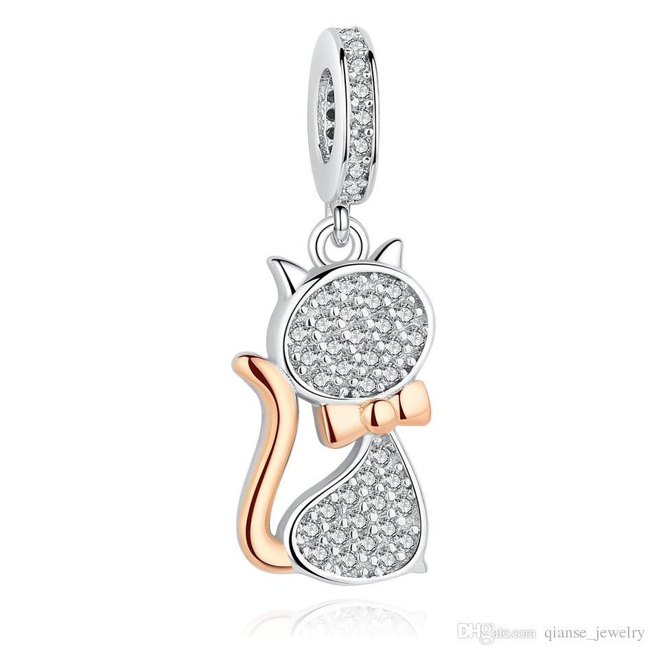 f2eda5f06d2ad8 Acquista Nuovo 925 Sterling Silver Charms In Oro Rosa Lovely Cat Charm  Beads Fit Pandora Charm Snake Catena Bracciali Gioielli Fai Da Te A $12.17  Dal Viliya ...