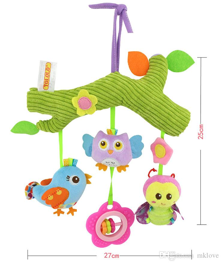 TOLOLO baby crossbar car hanging bed hanging bell mirror baby pamper plush toys cartoon animal giraffe owl monkey baby toys