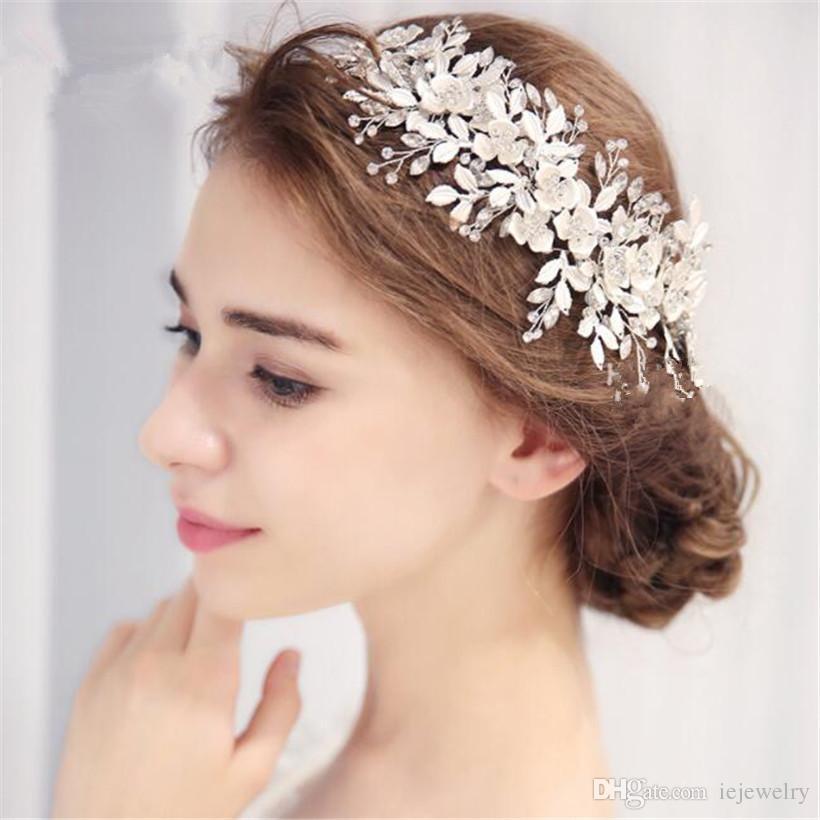 Grosshandel Vintage Hochzeit Braut Leaf Stirnband Blume Haarschmuck