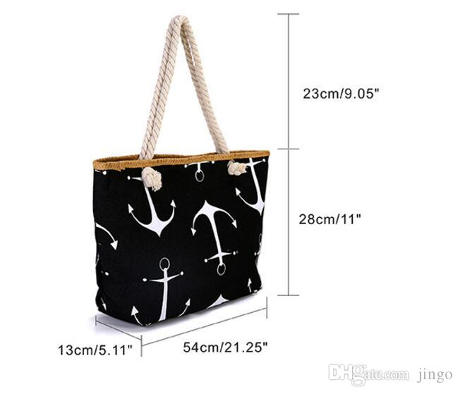 DHL Classical Women Ladies Fashion Boat Anchor Canvas Shoulder Bag Stripes New Messenger Bag Summer Beach Handbag Bags Totes