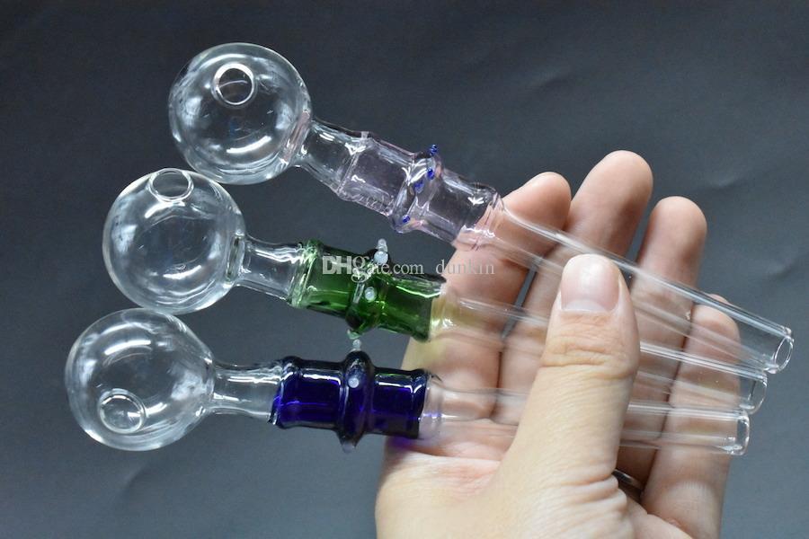 Hohe qualität Hand glasölbrenner 14 cm 10mm 0D Öl Brenner Rauchen Griff Rohre Mini Gebogene Pfeife Billig Rauchen Zubehör