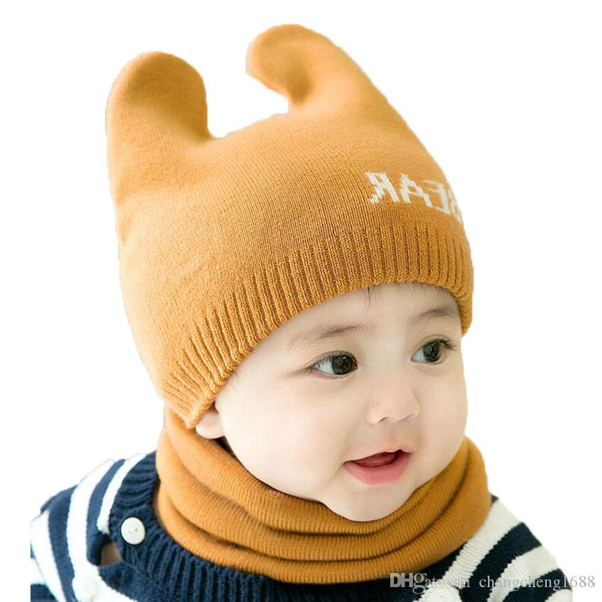 d2ed97518fd 2019 Baby Scarf Cap Sets Boy Girl Solid Letter Jacquard Knit Beanies Hat  And Ring Scarf Set 2018 New Kids Winter Warm Cap Scarf Suit MZ6814 From ...