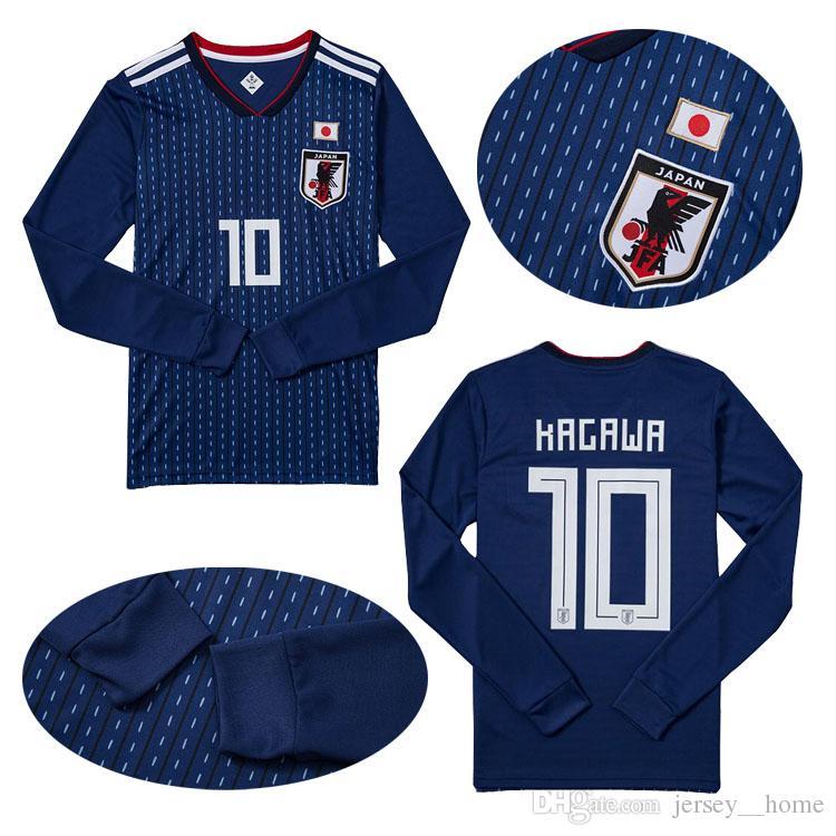 Compre Manga Longa 2018 Copa Do Mundo Japão Soccer Jersey 17 18 Japão Casa  Camisa De Futebol Azul   10 KAGAWA   4 HONDA Camisas De Futebol De  Jersey  home 63a851a63bc8f