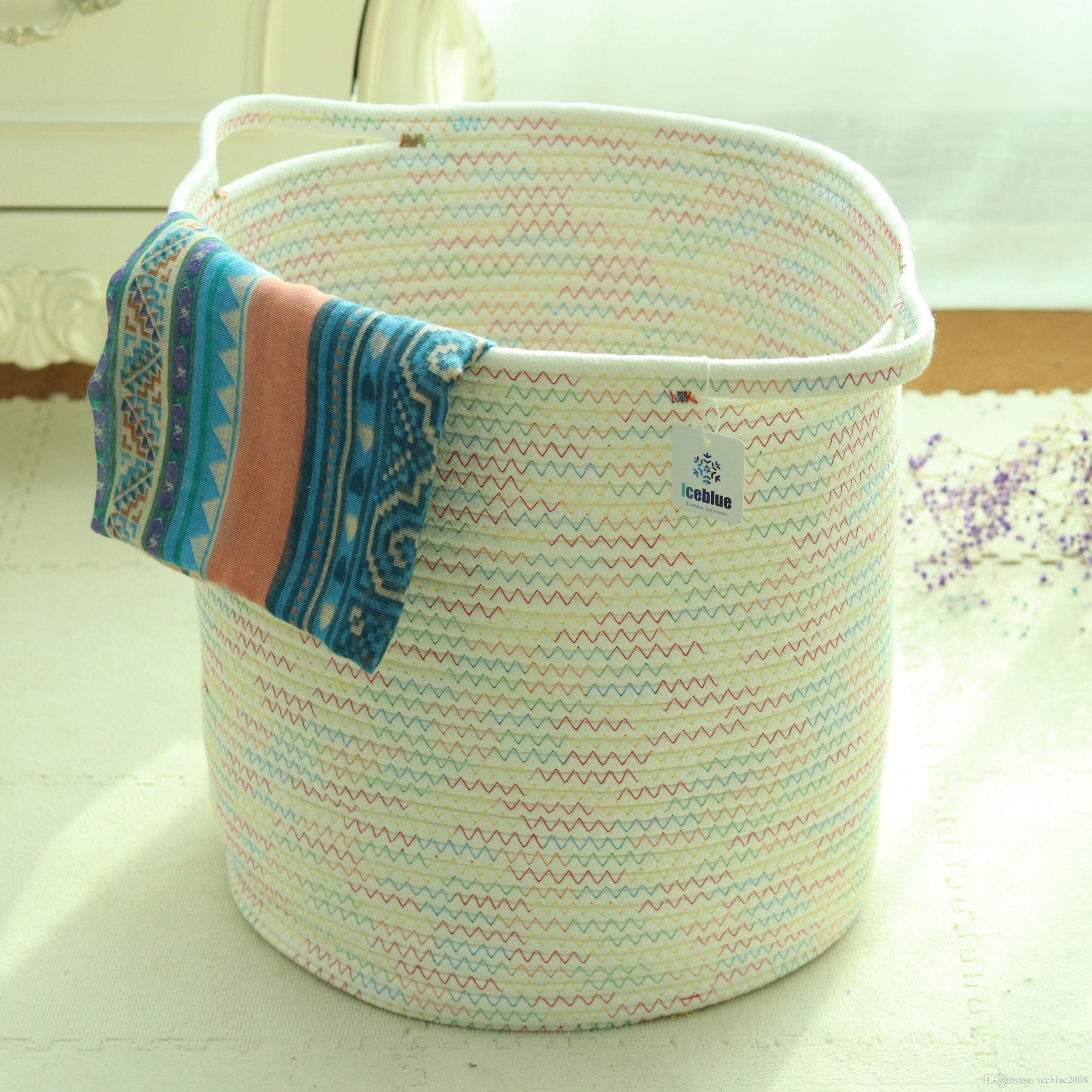 ICEBLUE 13.7u0027u0027X15.7u0027u0027 Fun Color Series X Large Natural Woven Rope Storage  Basket Stuff Basket Laundry Bag Nursery Basket Home Decoration Toy Storage  Large ...