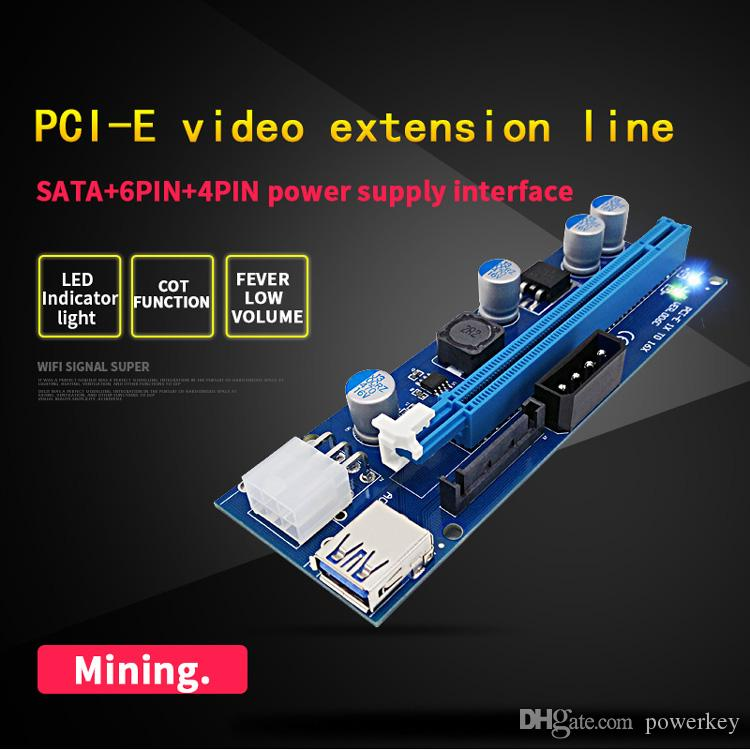 Newest VER 009S PCI-E 1X TO 16X PCI-E PCI E Express Riser Extender Adapter Card with 60cm USB 3.0 Cable Power for Bitcoin