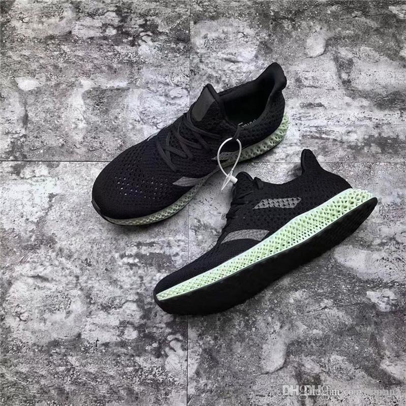 new styles 3a84b e0f83 2018 Lanzamiento Futurecraft 4D Ash Green Estampado 4D Originales  Originales CORE BLACK Hombre Mujer Zapatillas Auténticas Zapatillas Con  Caja Por ...