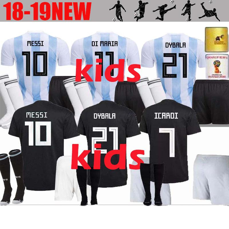 0563c15f0 AAA+ 2018 World Cup Argentina Soccer Jersey Kids Kit 18 19 MESSI ...