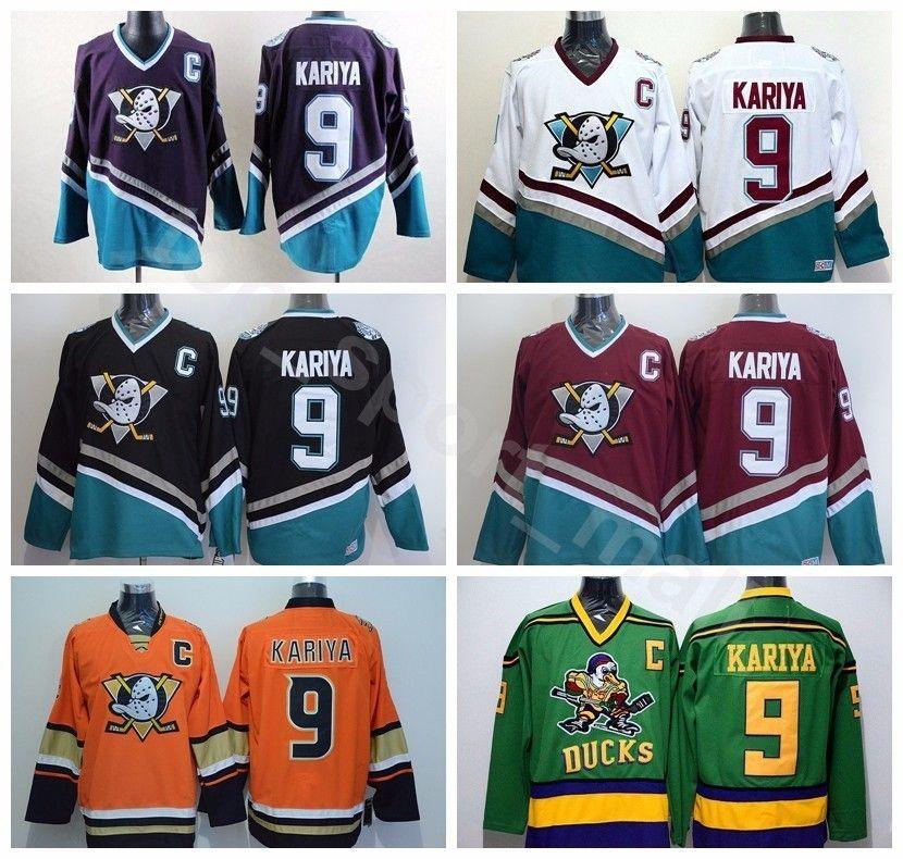 Anaheim Ducks 9 Paul Kariya Jersey Men Hockey The Mighty Ducks Movie ... 6e53dbad9