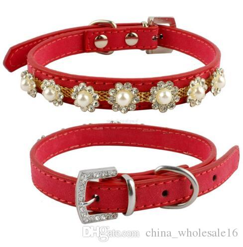 Rhinestone Dog Cat Collars Suede Leather Pearls Flower Studded Diamante Buckle For Poodle Chihuahua wholesale