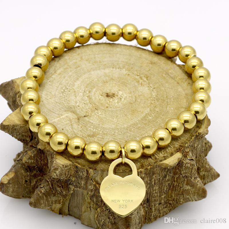 T bijoux en acier inoxydable de mode bracelet coeur de pêche chaîne perlée manchette de manchette en titane féminin pour homme bijoux en acier