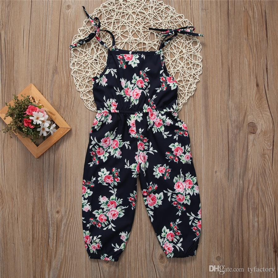 Kids girls flower print bib overalls baby jumpsuit outfit summer retro dungaree kids girls clothing boutique clothes
