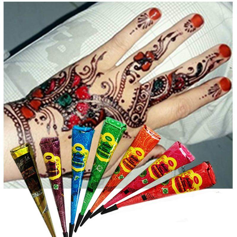 Colorful Indian Henna Tattoo Paste Body Art Paint Mini Natural Indian Tattoo Henna Paste for Body Drawing Temporary Draw On Body 3001326