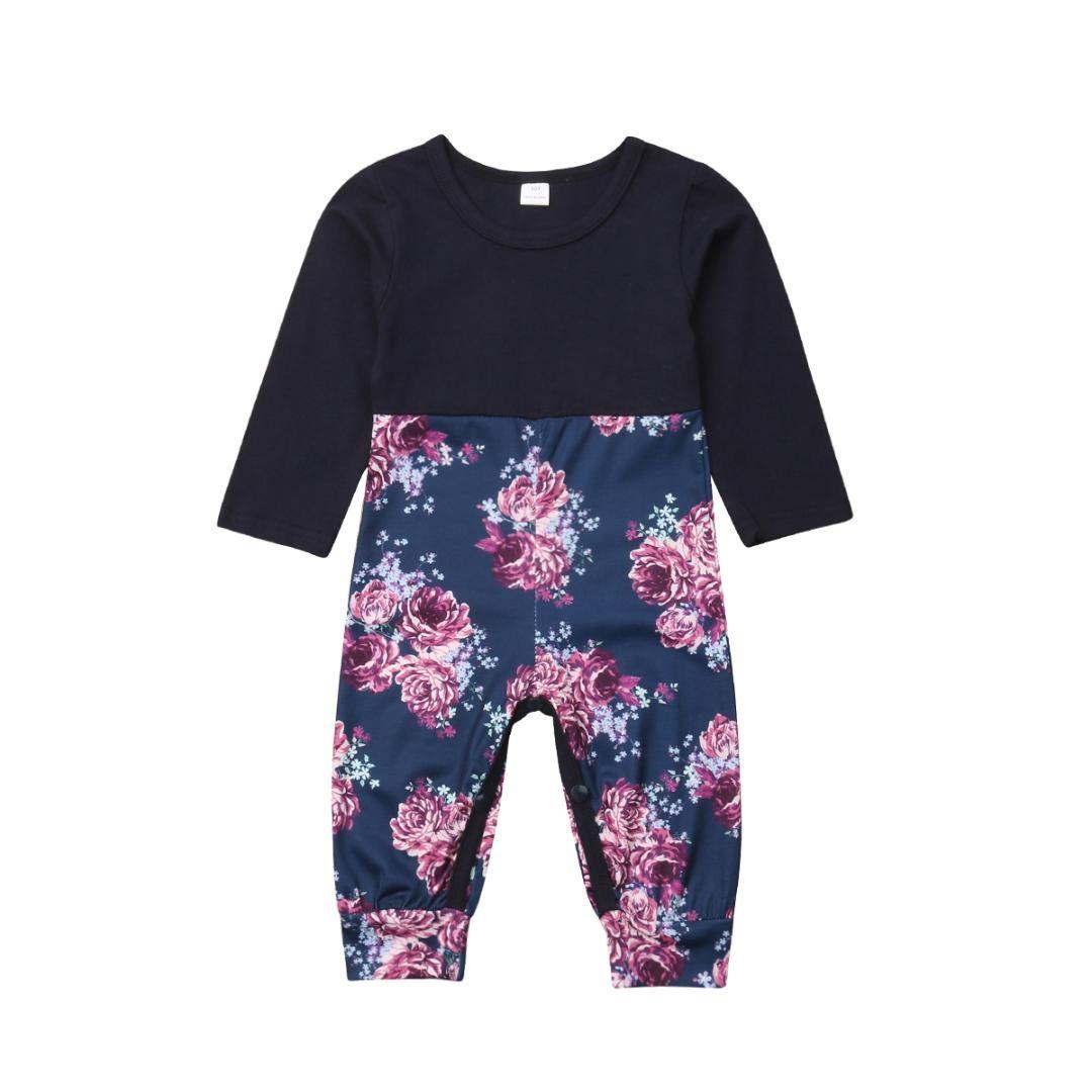 2821c830074d 2019 2018 Brand Newborn Baby Girl Floral Long Sleeve Romper Jumpsuit ...