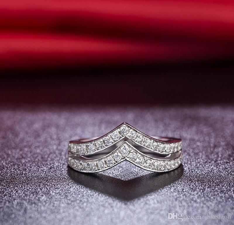 2V Shape Semi Mount Synthetic Diamond Band Rings for Women Stackable Wedding Band Ring Sterling Silver Jewelry Band Ring White Gold Plated