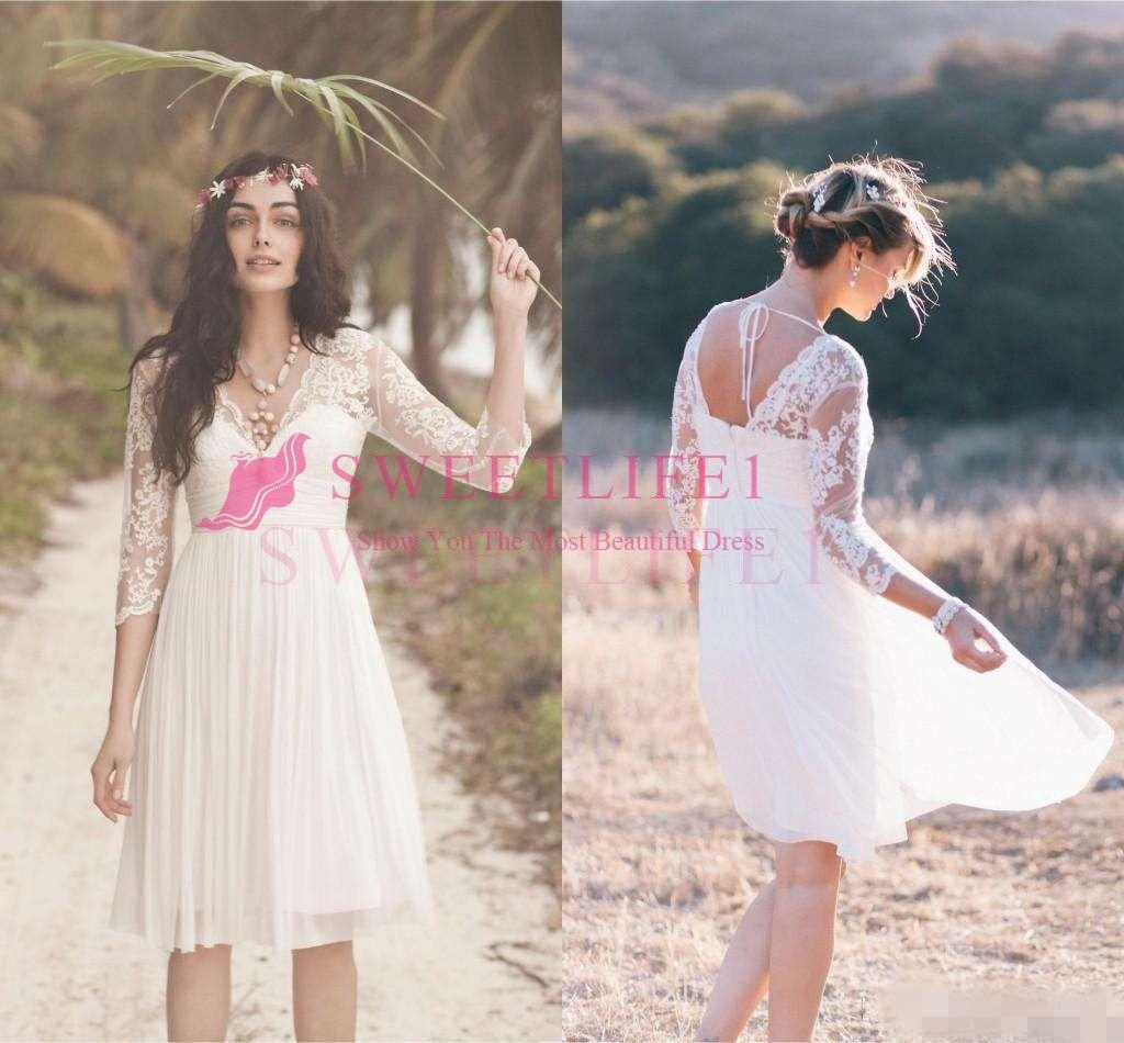 Großhandel Boho Short Lace Brautkleider Mit Langen Ärmeln 14 Modest V  Ausschnitt Rückenfreie Country Farm Holiday Beach Seaside Knielangen