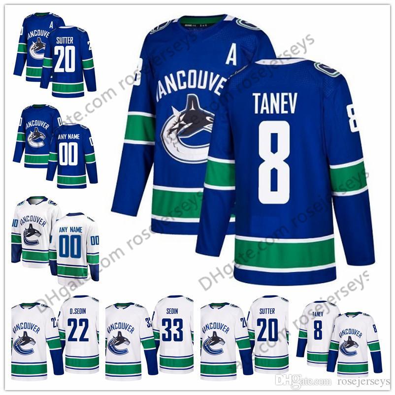 2019 Vancouver Canucks  8 Christopher Tanev 14 Tanner Pearson 15 Ryan  Spooner 21 Loui Eriksson 23 Alexander Edler 2 Luke Schenn Blue White Jersey  From ... b386d693a