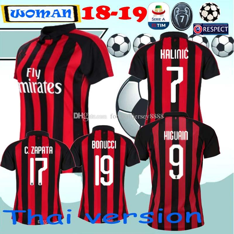 Mujer Cutrone De Camisa Milan 2018 Higuain Borini Ac Caldara 18 19 2019 Calhanoglu Kessie Bakayoko Fútbol Camiseta dhBtxsrCQ