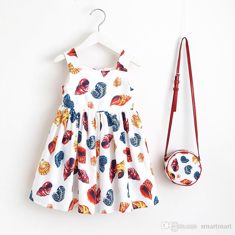 Everweekend Girls Sweet Floral Ice Cream Print Party Dress Summer Fall Dress with Cross Bags Fashion Princess Sleeveless Dress