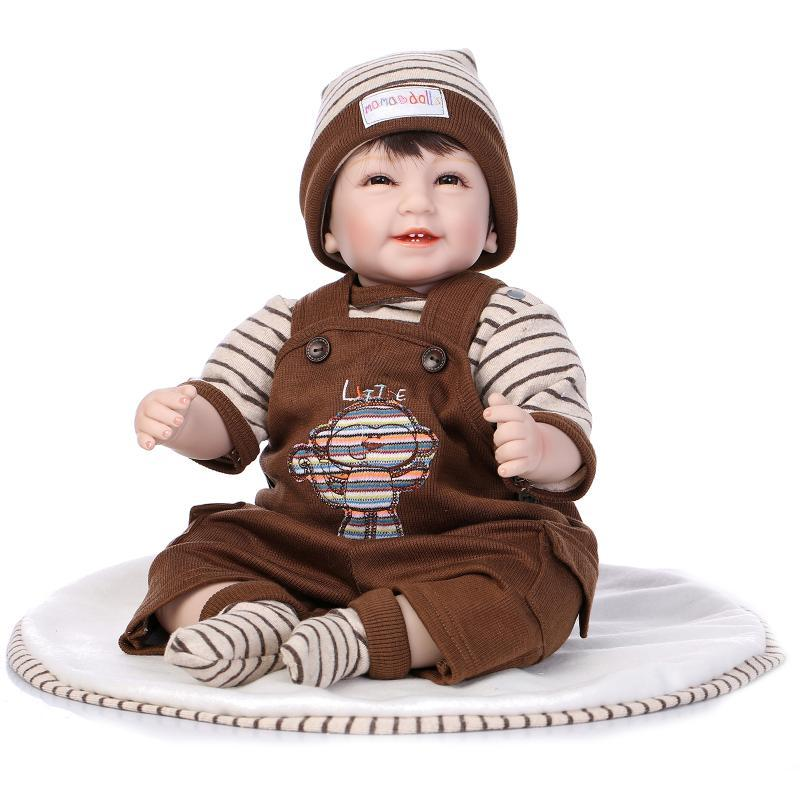 Wholesale- Lifelike Reborn Boy Doll Lovely Silicone Smile Baby Doll With Teeth for Kids Playhouse Toy 22""
