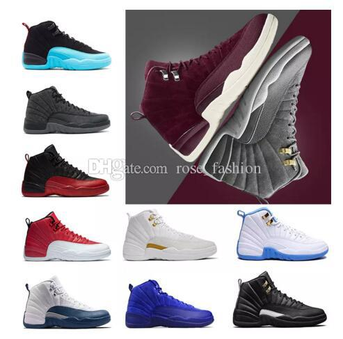 12 Bordeaux Dark Grey Wool Basketball Shoes 12 Wings 12s The Master Sports  Sneakers XII OVO Colorway Black Metallic Gold White Men Athletics Online  Shoes ... 267181526
