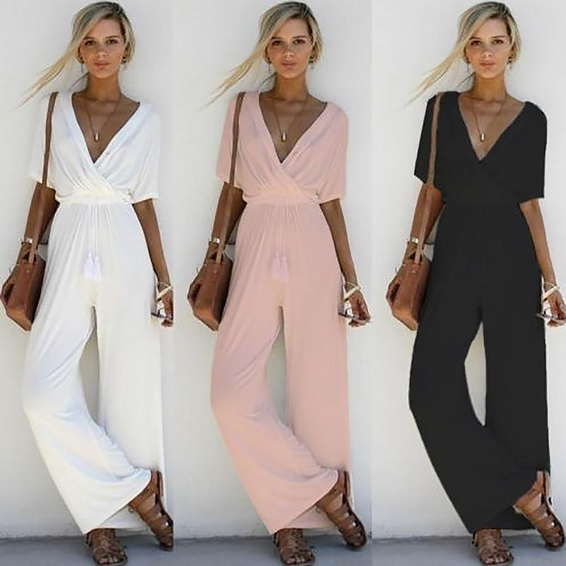 3a8f6ce3d78 2019 2018 Women Sexy Jumpsuit Summer White V Neck Short Sleeve Rompers  Womens Jumpsuit Casual Ladies Wide Leg Loose Overalls Playsuit From  Vanilla03