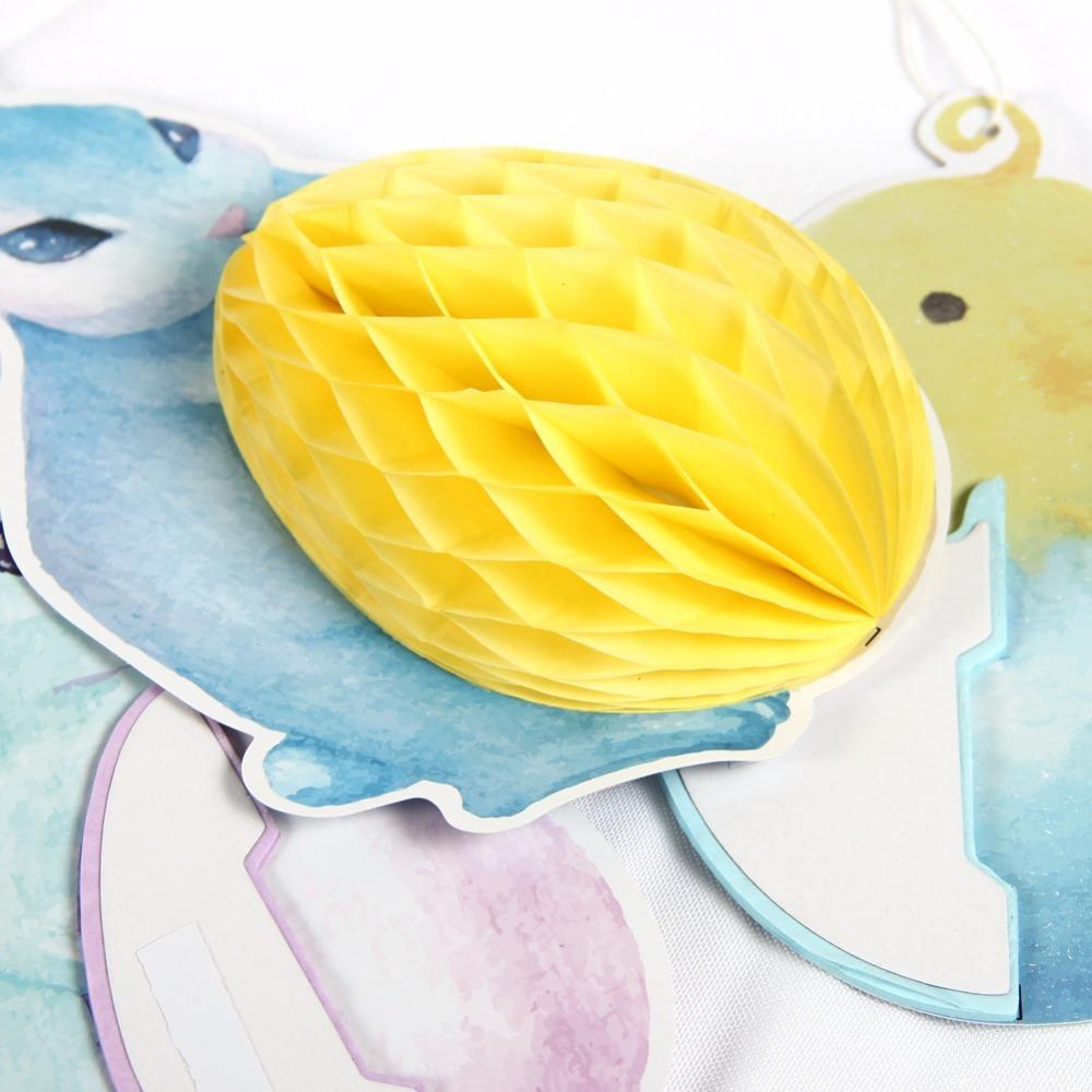 Blue Rabbit And Chicken Honeycomb Balls For Easter Party Decoration Hang Supplier for outside decorations for yard