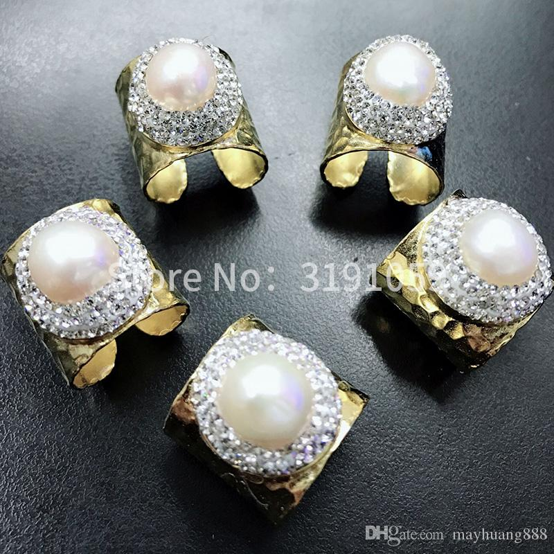 Natural pearl gold ring, European and American hyperbolic street tide can adjust the ring