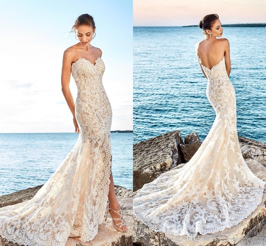 2018 Light Champagne Sweetheart Full Lace Mermaid Wedding Dresses ...